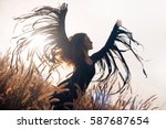 beautiful woman silhouette.... | Shutterstock . vector #587687654
