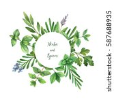 watercolor hand painted round... | Shutterstock . vector #587688935