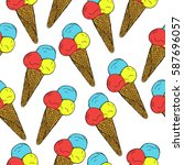 seamless patern with hand drawn ... | Shutterstock .eps vector #587696057