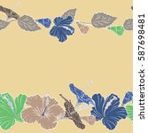 vintage vector floral seamless... | Shutterstock .eps vector #587698481