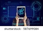 jigsaw puzzle teamwork... | Shutterstock . vector #587699084