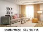 interior with sofa. 3d... | Shutterstock . vector #587701445