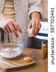 kitchen disaster  bad cooking   ... | Shutterstock . vector #587702441