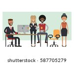 scenes of people working in the ... | Shutterstock .eps vector #587705279