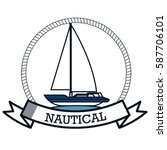 nautical frame with sailboat | Shutterstock .eps vector #587706101