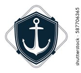 nautical frame with anchor | Shutterstock .eps vector #587706365