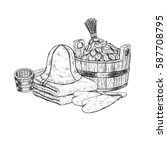 set for sauna. hand drawn items ... | Shutterstock .eps vector #587708795