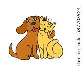 Stock vector cute dog hugs cat funny cartoon picture of fur little animals kind emotions friendship 587708924