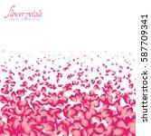 flowers petals falling on white ... | Shutterstock .eps vector #587709341