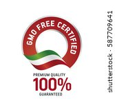 gmo free certified red ribbon... | Shutterstock .eps vector #587709641