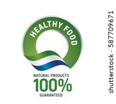 healthy food green ribbon label ... | Shutterstock .eps vector #587709671