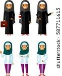 set of cartoon different arab... | Shutterstock .eps vector #587711615