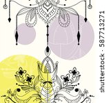 zentangle mandala background | Shutterstock .eps vector #587713271