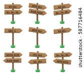 vector set of wooden arrow... | Shutterstock .eps vector #587716484