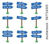 vector set of wooden arrow... | Shutterstock .eps vector #587716505