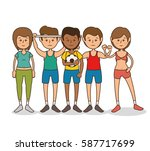 group people healthy lifestyle | Shutterstock .eps vector #587717699
