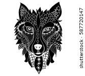 wolf zentangle illustration on... | Shutterstock .eps vector #587720147