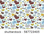 stylized doodle hearts and love ... | Shutterstock . vector #587723405