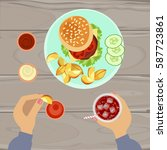 person is eating hamburger and... | Shutterstock .eps vector #587723861