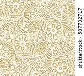 seamless flower paisley lace... | Shutterstock .eps vector #587732717