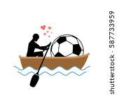 lover soccer. guy and football...   Shutterstock .eps vector #587733959