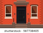 brooklyn red brick apartment... | Shutterstock .eps vector #587738405
