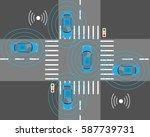 the sensors of smart cars that... | Shutterstock .eps vector #587739731