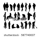 rural people silhouette | Shutterstock .eps vector #587740037
