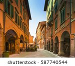 shopping street in pisas old... | Shutterstock . vector #587740544