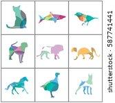 big set of colorful animal... | Shutterstock .eps vector #587741441