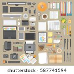 vector set. workspace... | Shutterstock .eps vector #587741594
