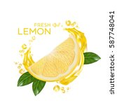 fresh lemon fruit vector | Shutterstock .eps vector #587748041