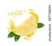 fresh lemon fruit vector | Shutterstock .eps vector #587748041