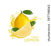 fresh lemon fruit vector | Shutterstock .eps vector #587748065