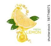 fresh lemon fruit vector | Shutterstock .eps vector #587748071