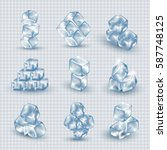 ice cubes set isolated on... | Shutterstock .eps vector #587748125