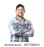 long haul truck driver on white ... | Shutterstock . vector #587748914