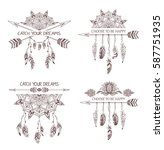 set of hand drawn boho style... | Shutterstock .eps vector #587751935