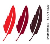 three red feather  elegance... | Shutterstock .eps vector #587754839