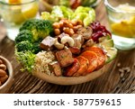 buddha bowl of mixed vegetables ... | Shutterstock . vector #587759615