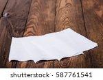 napkin isolated on wooden... | Shutterstock . vector #587761541