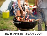close up grilling barbecue in... | Shutterstock . vector #587763029