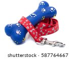 Stock photo a used rubber bone and a dog leash 587764667