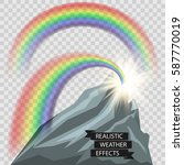 realistic rainbow and sun rays... | Shutterstock .eps vector #587770019