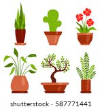 Set Of Home Plants. Vector...