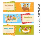 horizontal set of easter... | Shutterstock .eps vector #587774069