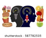 energy food and junk food. the... | Shutterstock . vector #587782535