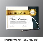 certificate template a4 size... | Shutterstock .eps vector #587787101