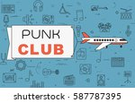 """airplane with banner """"punk club""""...   Shutterstock .eps vector #587787395"""