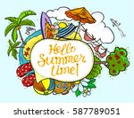 summer speech bubble with hello ... | Shutterstock .eps vector #587789051